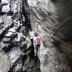 Tyrolean entering the cave
