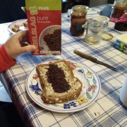 chocolate sprinkes, on sandwiches...